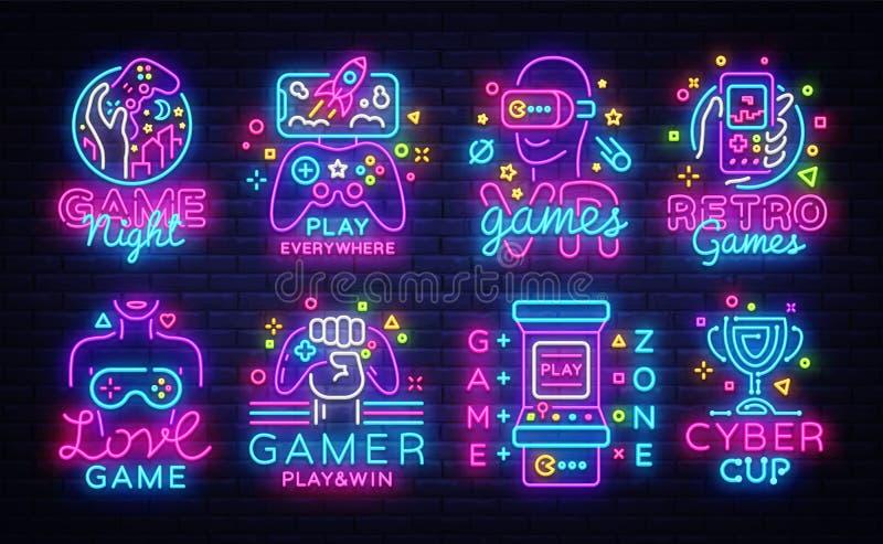 Sinais de néon conceptuais do vetor grande dos logotipos dos jogos de vídeo da coleção Os emblemas dos jogos de vídeo projetam o  ilustração do vetor
