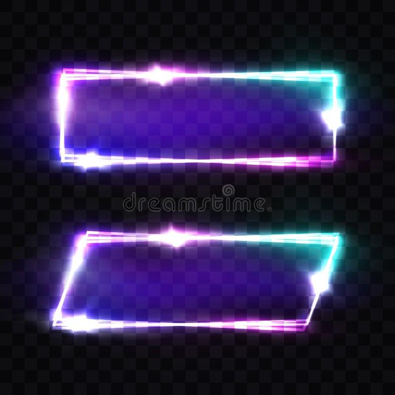 Sinais de néon do clube noturno ajustados Quadro claro retro vazio ilustração stock