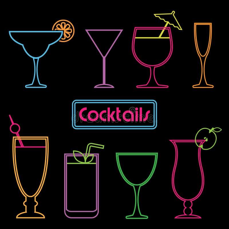 Sinais de néon do cocktail ilustração stock