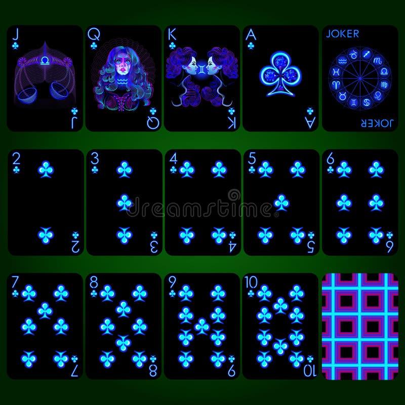 Sinais de néon do zodíaco da série dos cartões de jogo Conjunto completo dos cartões de jogo do terno do clube fotografia de stock