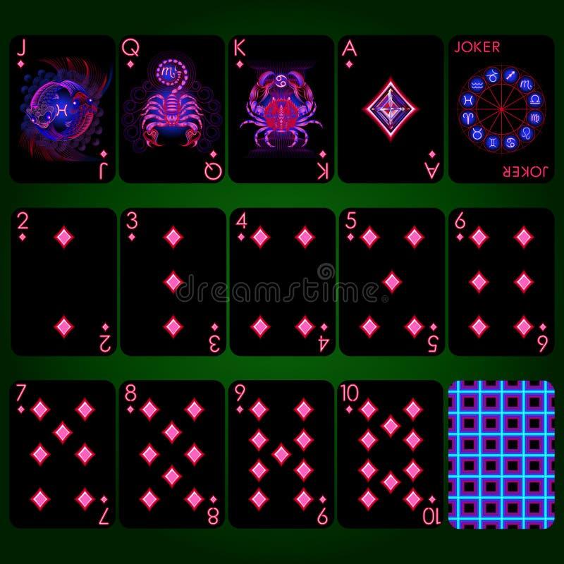 Sinais de néon do zodíaco da série dos cartões de jogo Conjunto completo dos cartões de jogo do terno do diamante imagens de stock