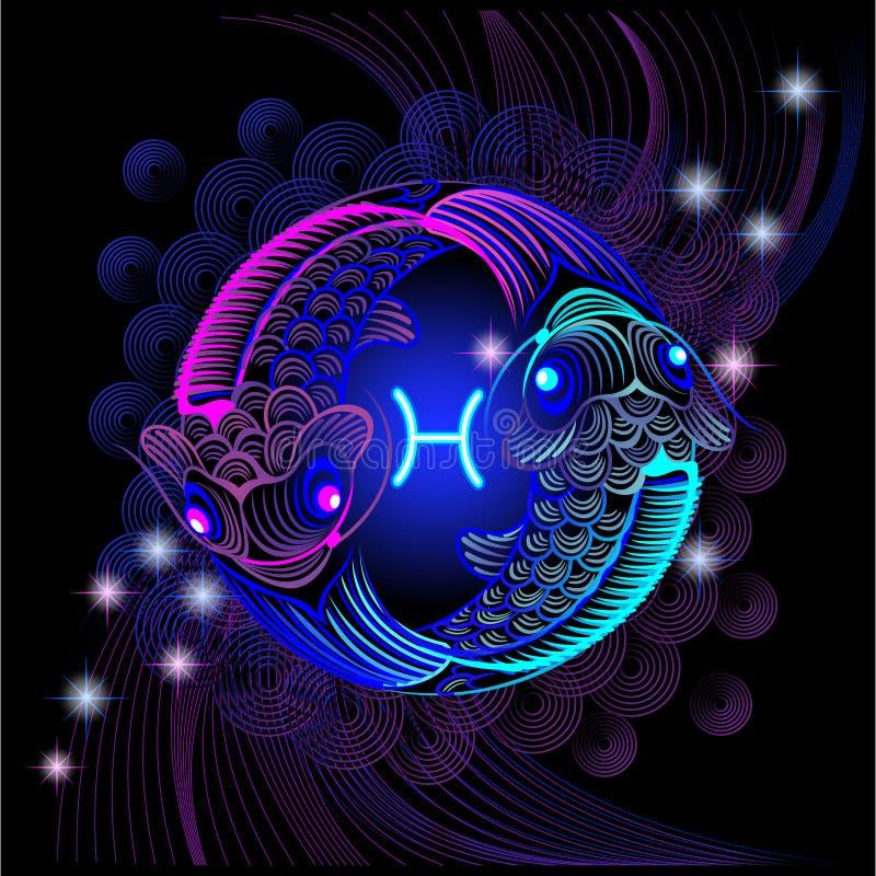 Sinais de néon do zodíaco: Peixes foto de stock