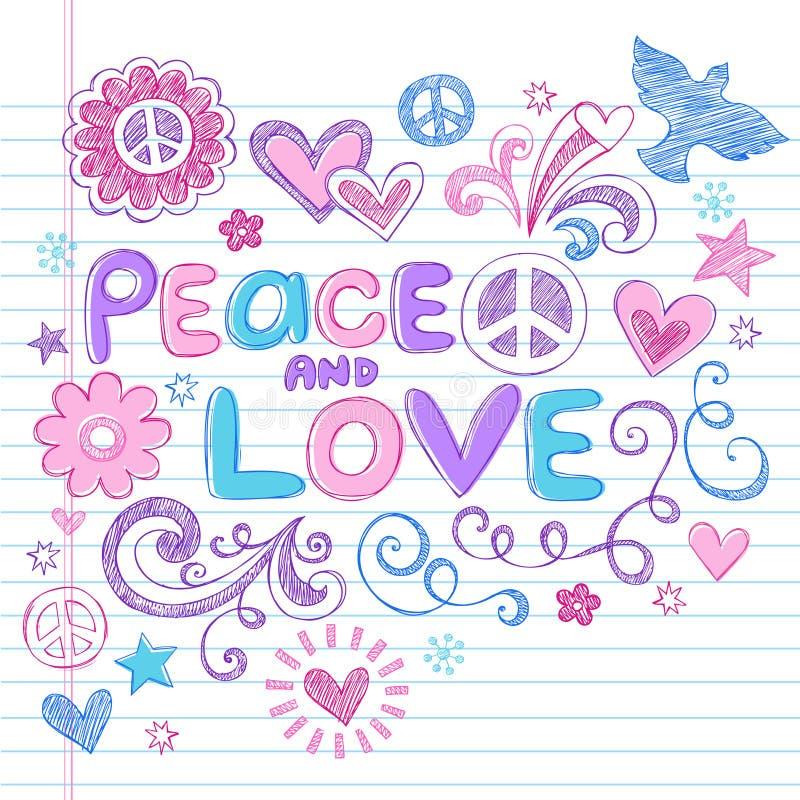 Sinais de paz & vetor esboçado dos Doodles do amor ilustração do vetor