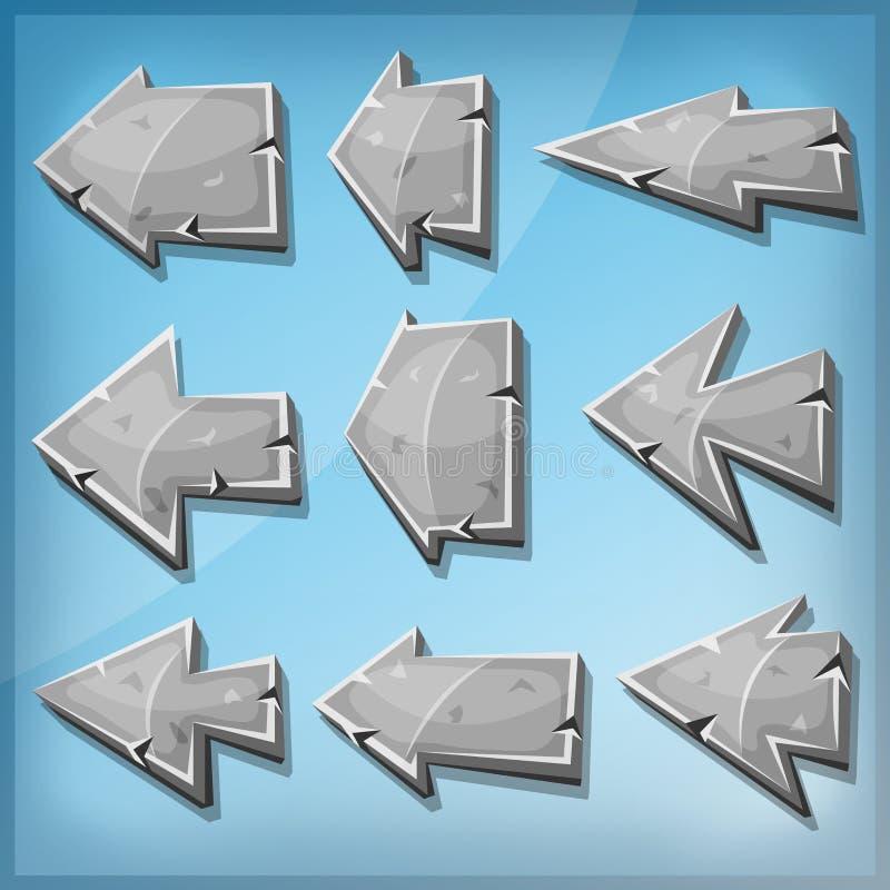 Sinais de pedra das setas para o jogo de Ui ilustração stock