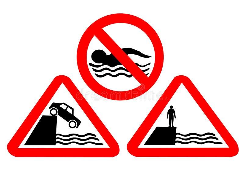 Sinais de perigo da água profunda ilustração royalty free