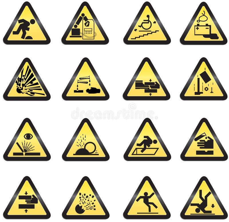 Sinais de perigo industriais ilustração royalty free