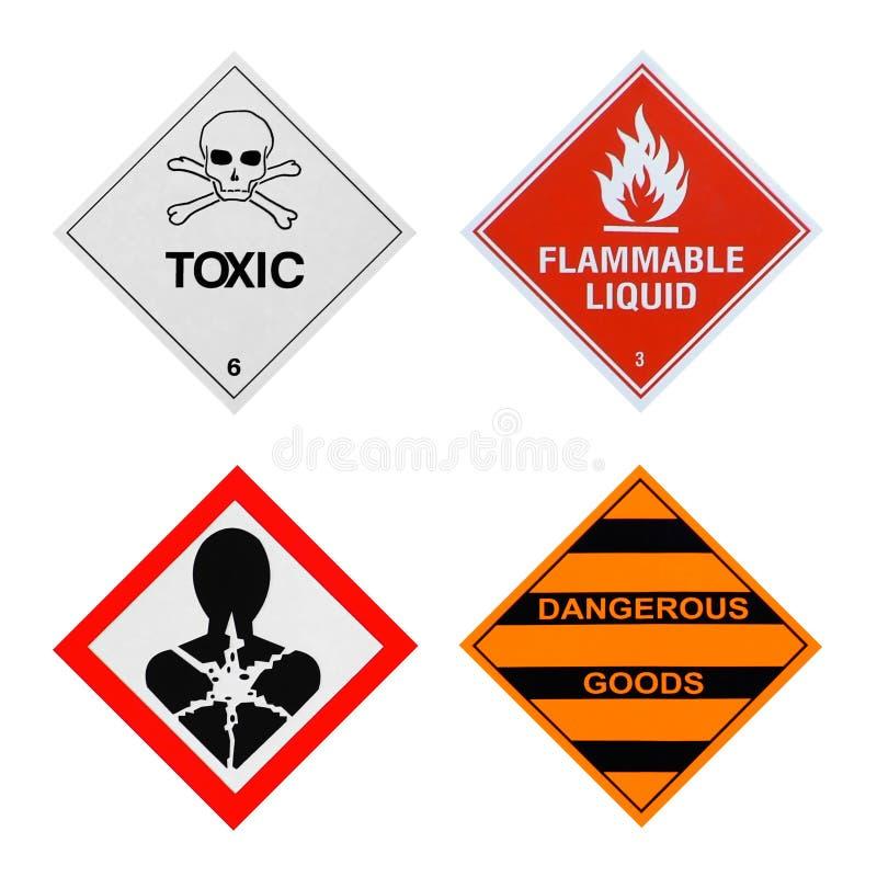 Sinais de perigos industriais fotos de stock