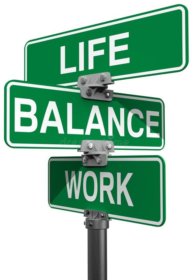 Sinais de rua da vida ou do equilíbrio do trabalho ilustração do vetor