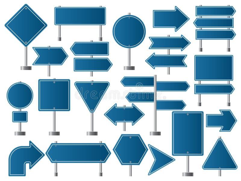 Sinais de rua Indicadores da estrada da estrada e sentido vazio das placas para a coleção do vetor do tráfego ilustração do vetor