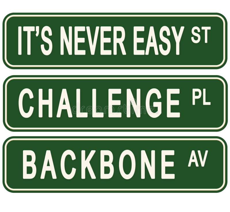 Sinais de rua inspiradores do negócio nunca fácil do desafio ilustração royalty free