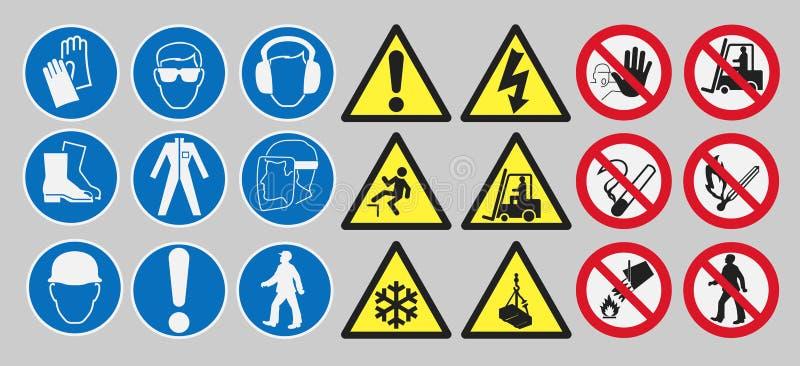 Sinais de segurança do trabalho ilustração stock