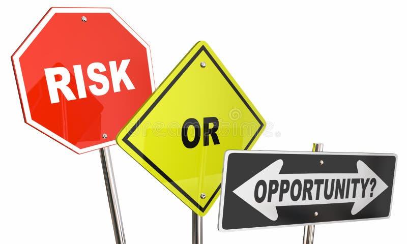 Sinais de sentido da rua do risco ou da oportunidade ilustração do vetor