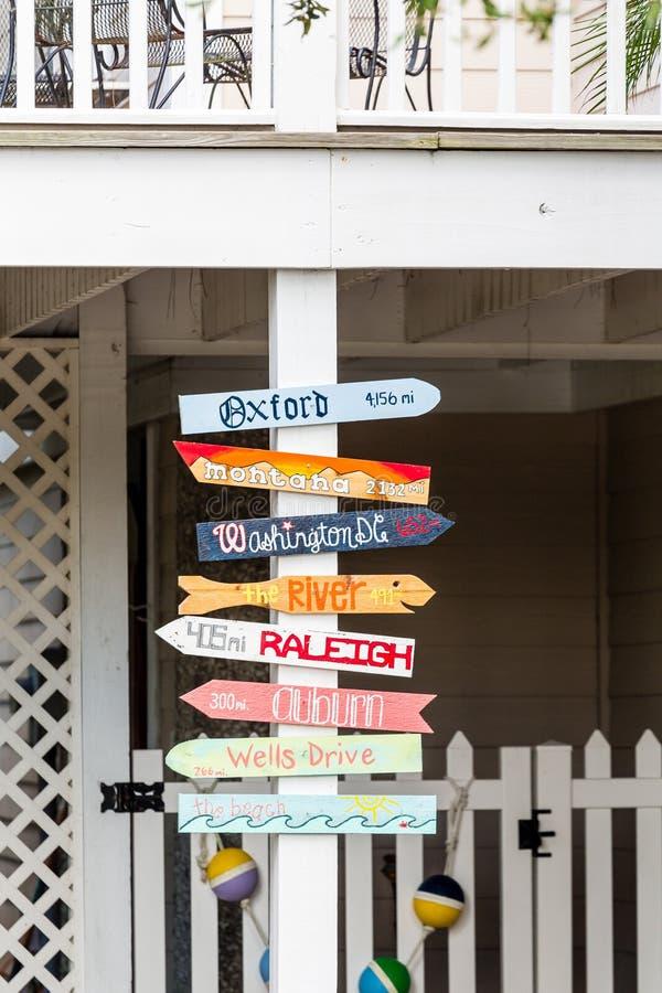 Sinais de sentido na casa de praia fotografia de stock royalty free