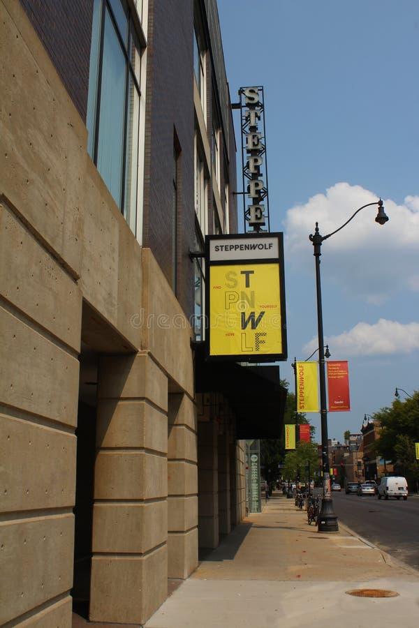 Sinais de Steppenwolf Teatro Empresa, Chicago, Illinois foto de stock