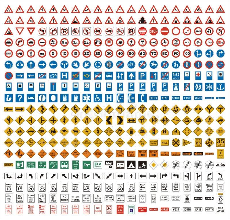 380 sinais de tráfego ilustração stock