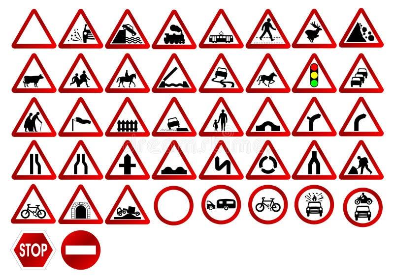 Sinais de tráfego diferentes ilustração stock