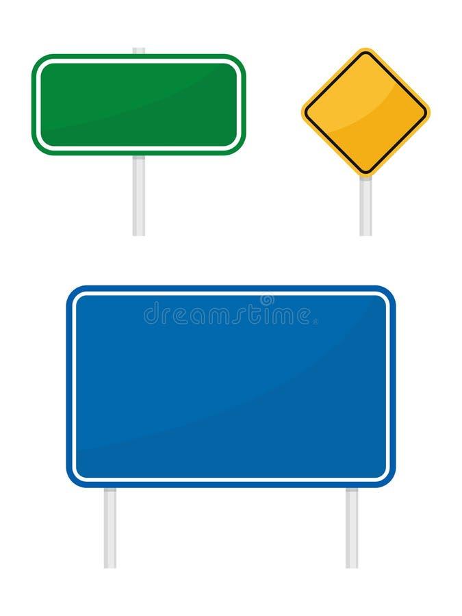 Sinais de tráfego rodoviário warging amarelos azuis verdes vazios da informação ilustração royalty free