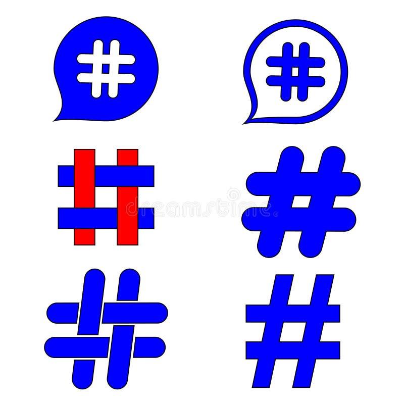 Sinais de um hashtag Sinal de n?mero, mistura, ou sinal da libra Cole??o de 6 s?mbolos pintados ? m?o isolada no fundo branco ilustração do vetor