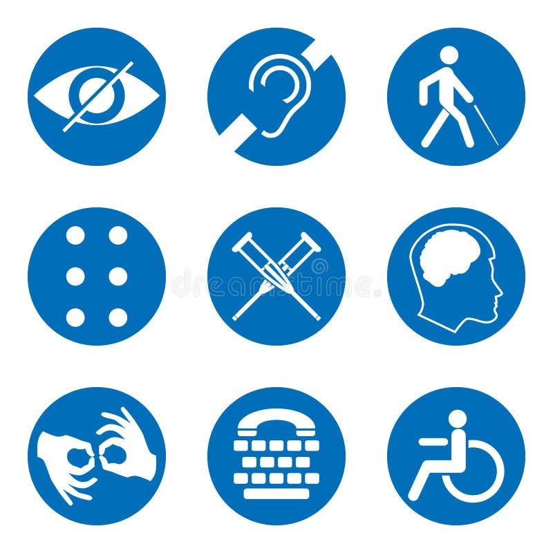 Sinais deficientes do vetor com surdo, mudo, mudo, cego, fonte do braile, doença mental, baixa visão, ícones da cadeira de rodas ilustração stock
