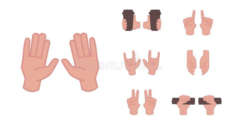 Sinais diferentes isolados no fundo branco - apontando, atenção, punho, polegares acima ilustração royalty free
