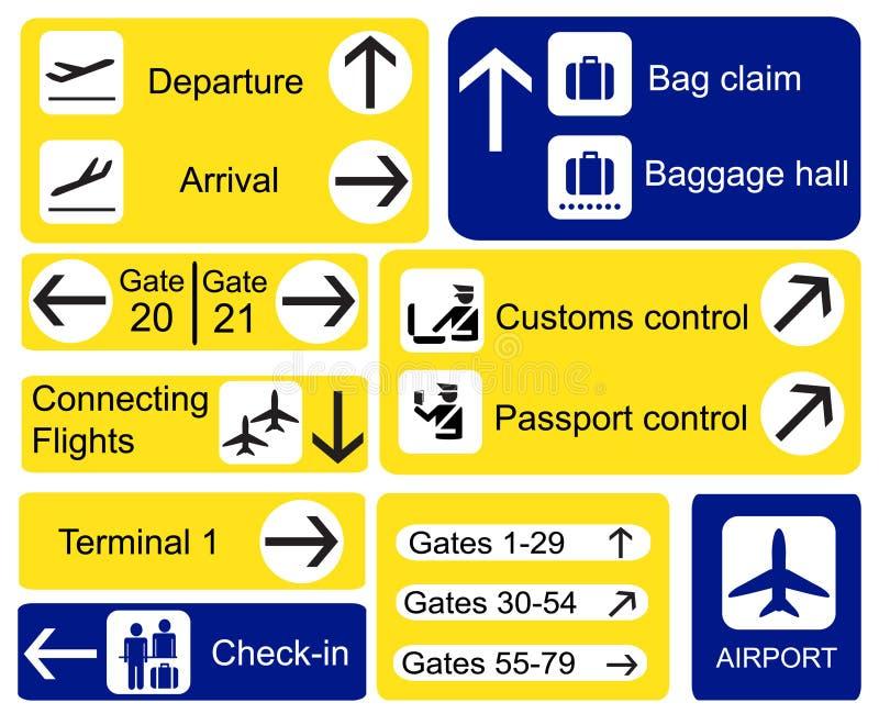 Sinais do aeroporto ilustração stock