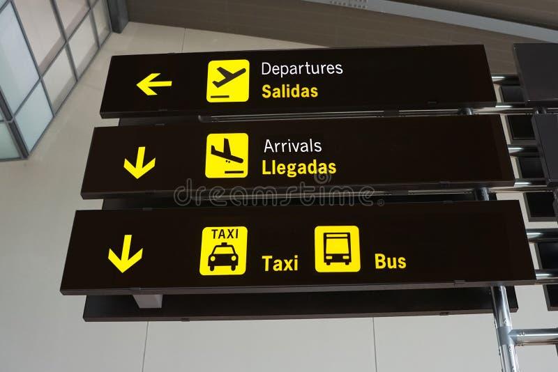 Sinais do aeroporto foto de stock