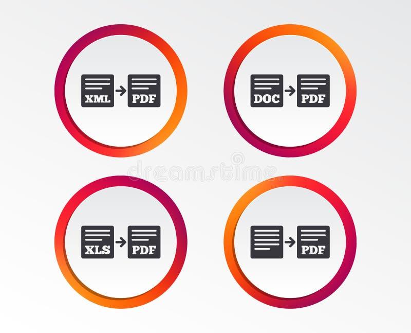 Sinais do arquivo da exportação Converso DOC aos símbolos do pdf ilustração royalty free