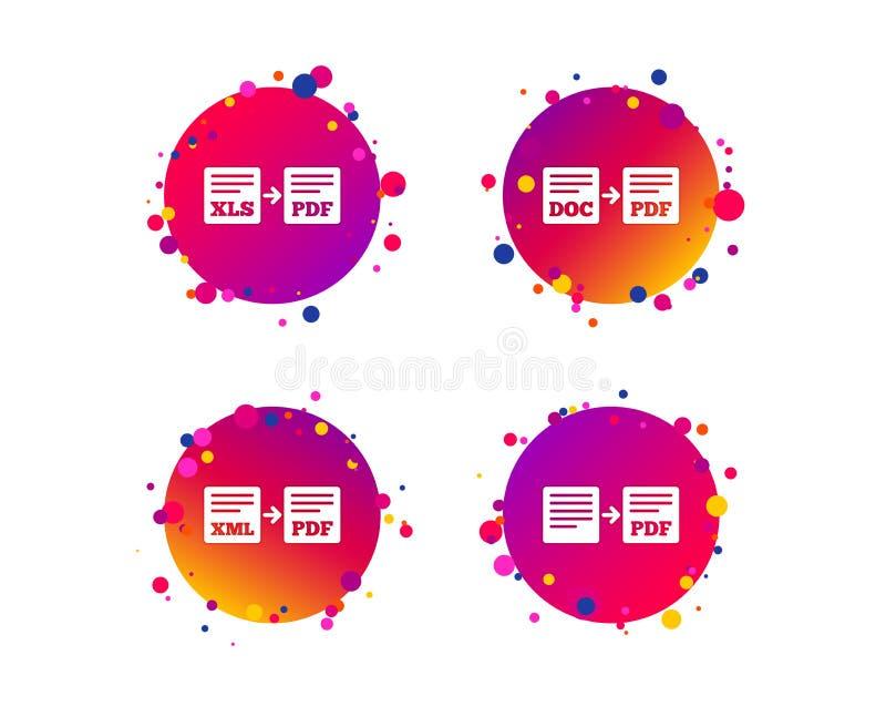 Sinais do arquivo da exportação Converso DOC aos símbolos do pdf Vetor ilustração stock