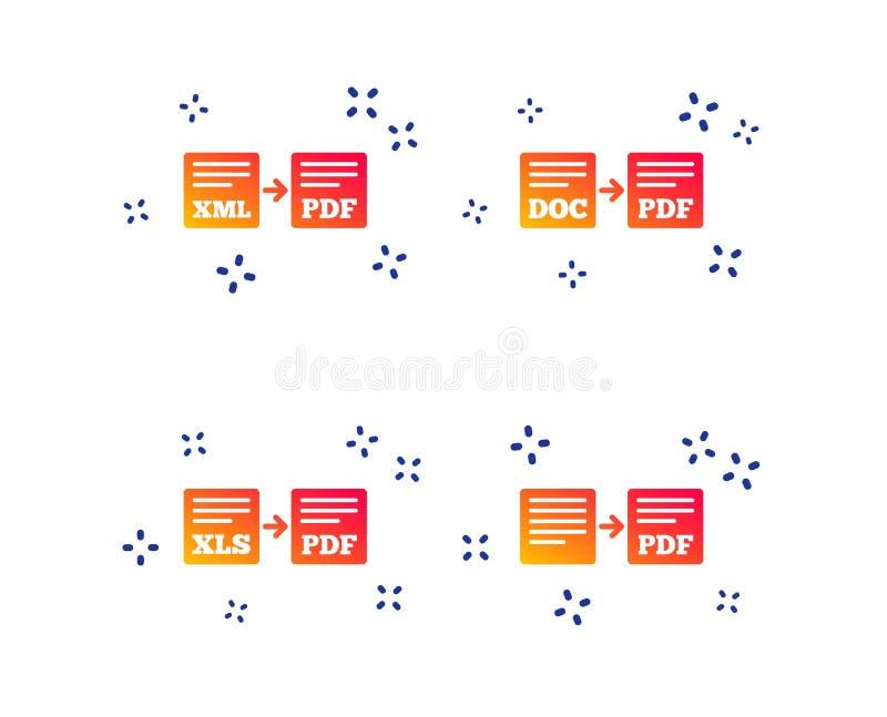 Sinais do arquivo da exporta??o Converso DOC aos s?mbolos do pdf Vetor ilustração stock