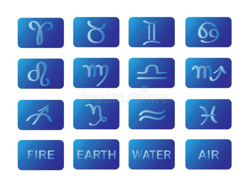 Sinais do azul dos símbolos do horoscope do zodíaco imagens de stock