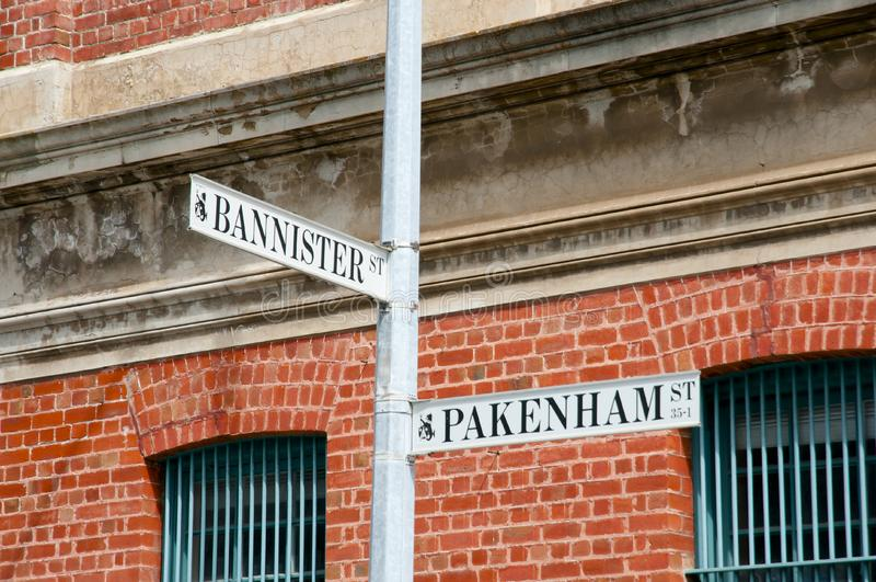 Sinais do Bannister & de rua de Pakenham - Fremantle - Austrália imagens de stock royalty free