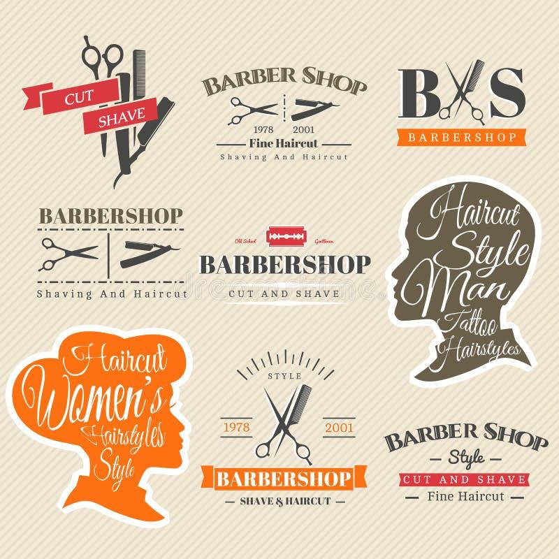 Sinais do barbeiro ilustração stock