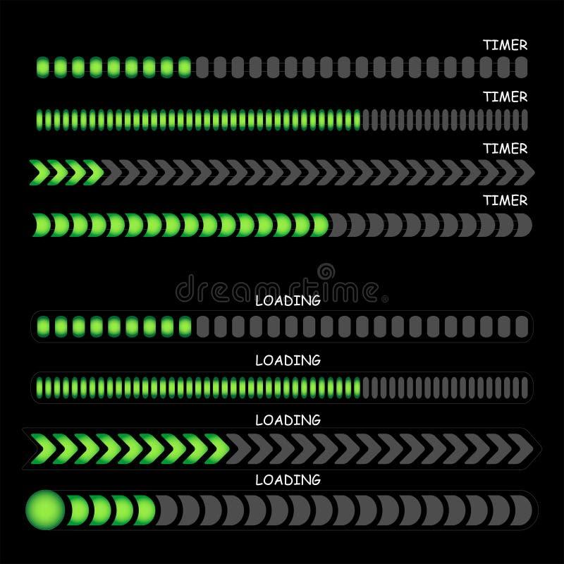 Sinais do carregamento e sinais do temporizador ilustração stock