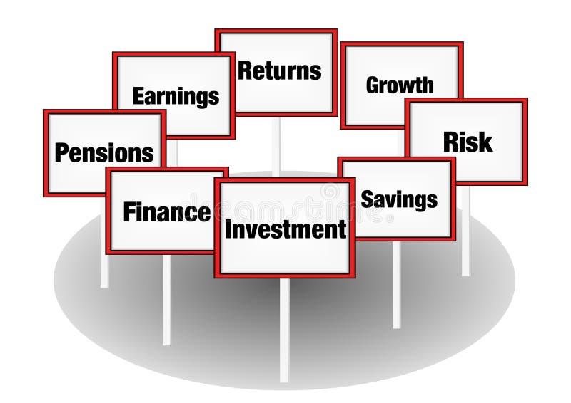 Sinais do conceito do investimento fotos de stock
