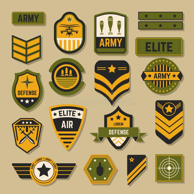 Sinais do exército e crachás ou serviço militar da elite das listras ilustração do vetor