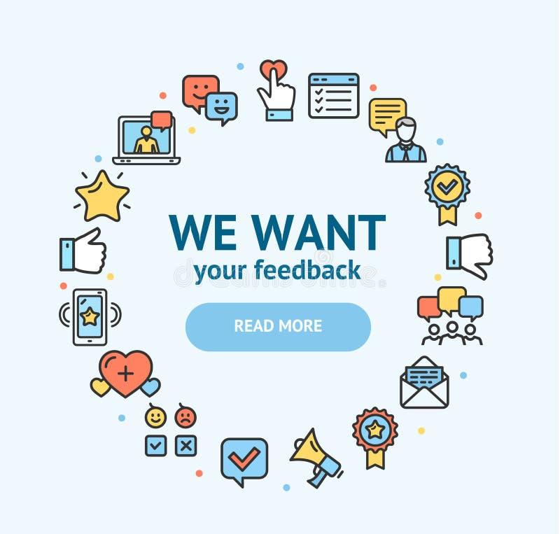 Sinais do feedback em volta da linha fina conceito do molde do projeto do ícone Vetor ilustração stock