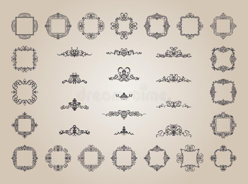 Sinais do flourish do negócio e beira clássica do logotipo ilustração stock