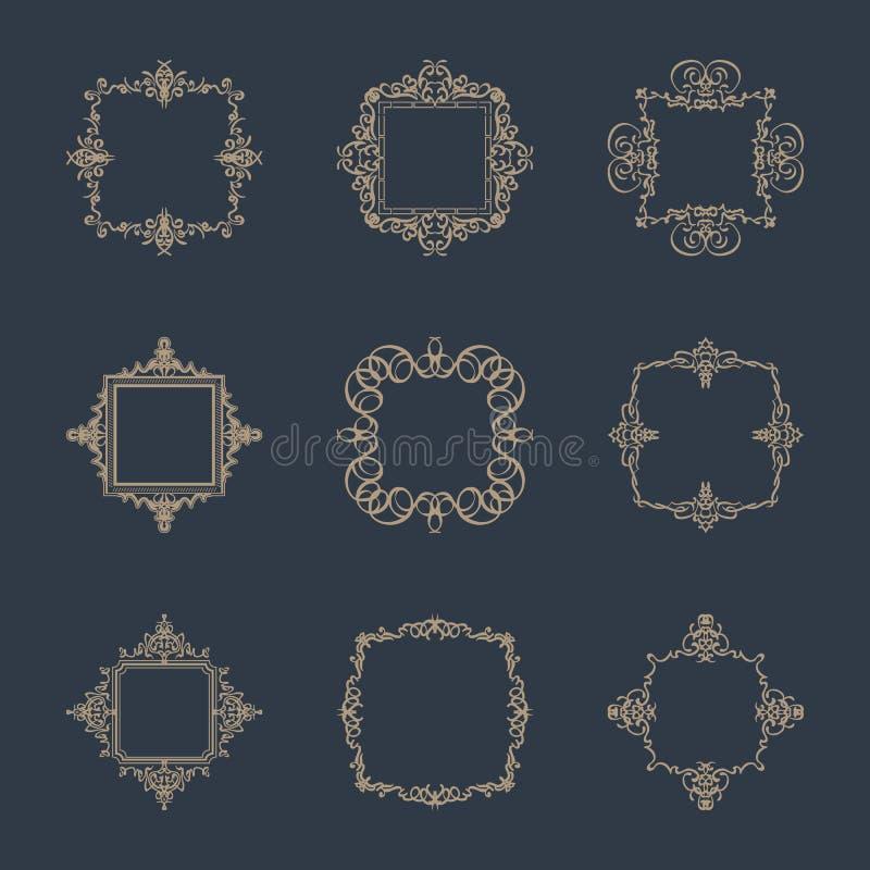 Sinais do flourish do negócio e beira clássica do logotipo ilustração do vetor