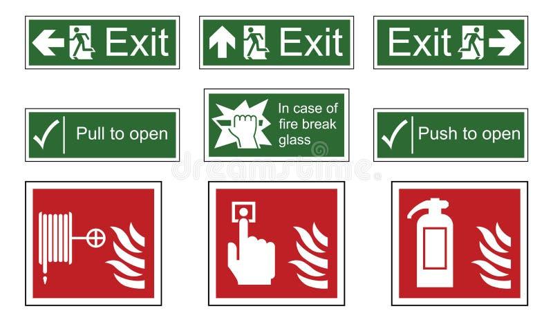 Sinais do fogo e da saída de emergência ilustração stock