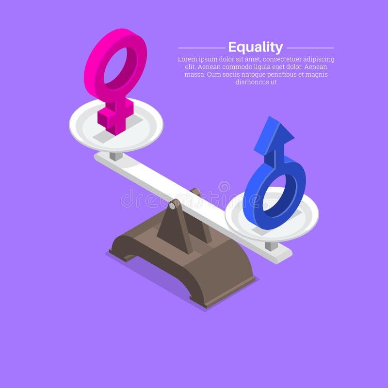 Sinais do gênero em escalas ilustração stock