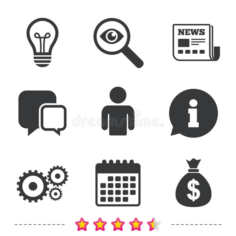 Sinais do negócio Ícones da ideia do bulbo do ser humano e de lâmpada ilustração stock