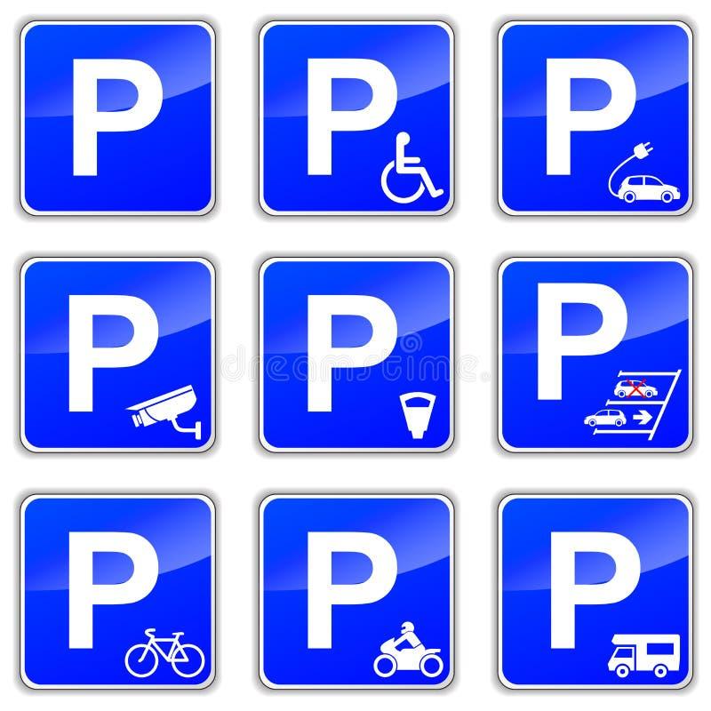 Sinais do parque de estacionamento ilustração stock