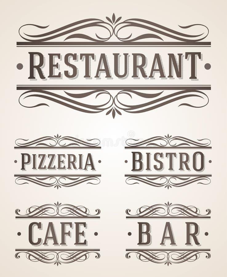 Sinais do restaurante e do café do vintage ilustração do vetor