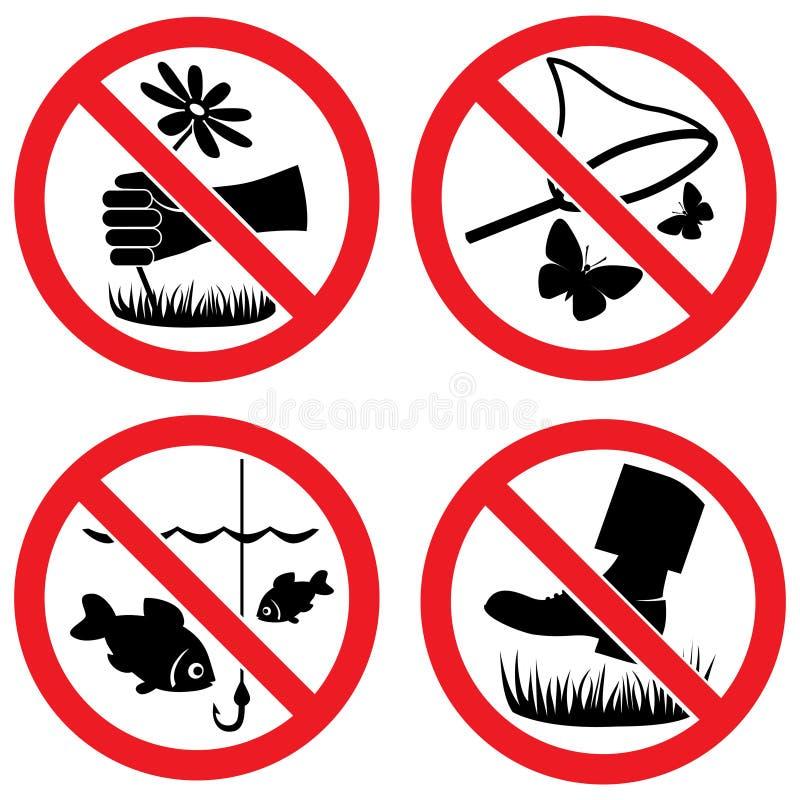 Sinais do vetor da proteção de natureza ilustração stock