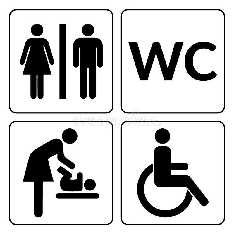 Sinais do WC ajustados Homem, mulher, mãe com bebê e silhuetas deficientes isoladas no fundo branco Homem e fêmea ilustração royalty free
