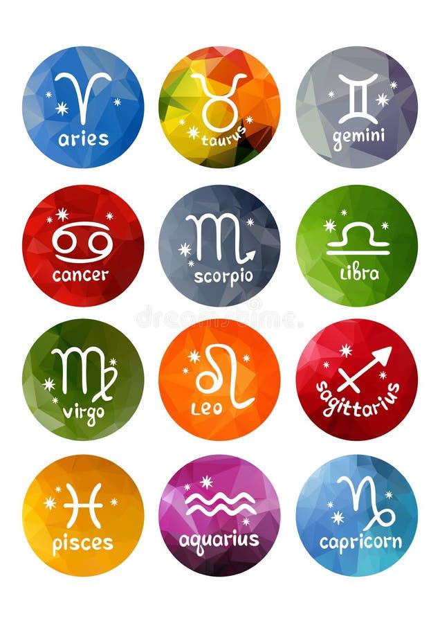 Sinais do zodíaco ajustados ilustração stock