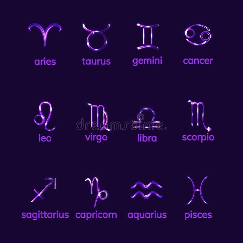 Sinais do zodíaco ajustados no fundo escuro ilustração do vetor