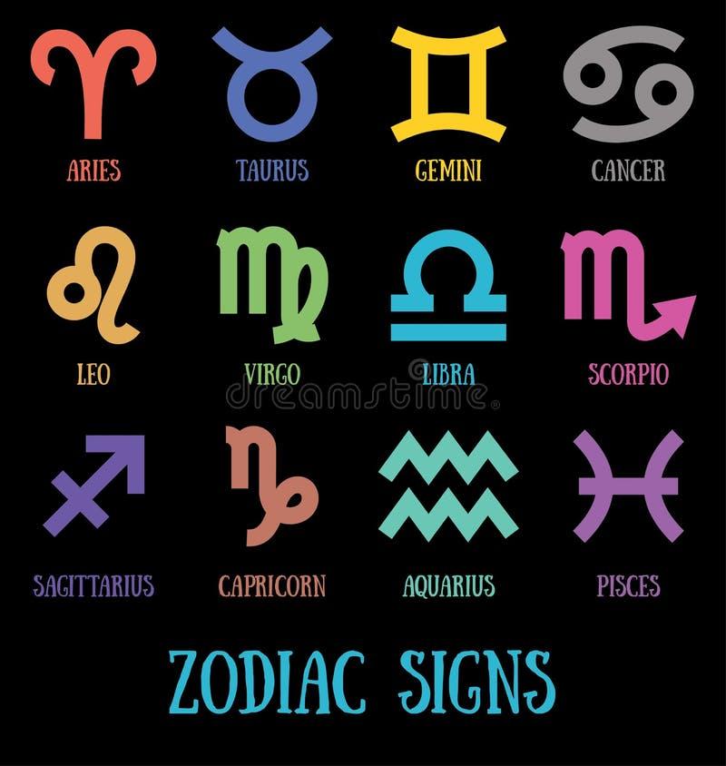 Sinais do zodíaco: aquarius, virgo, capricorn, sagittarius, aries, gemini, scorpio, libra, leo, pisces, taurus, câncer ilustração royalty free