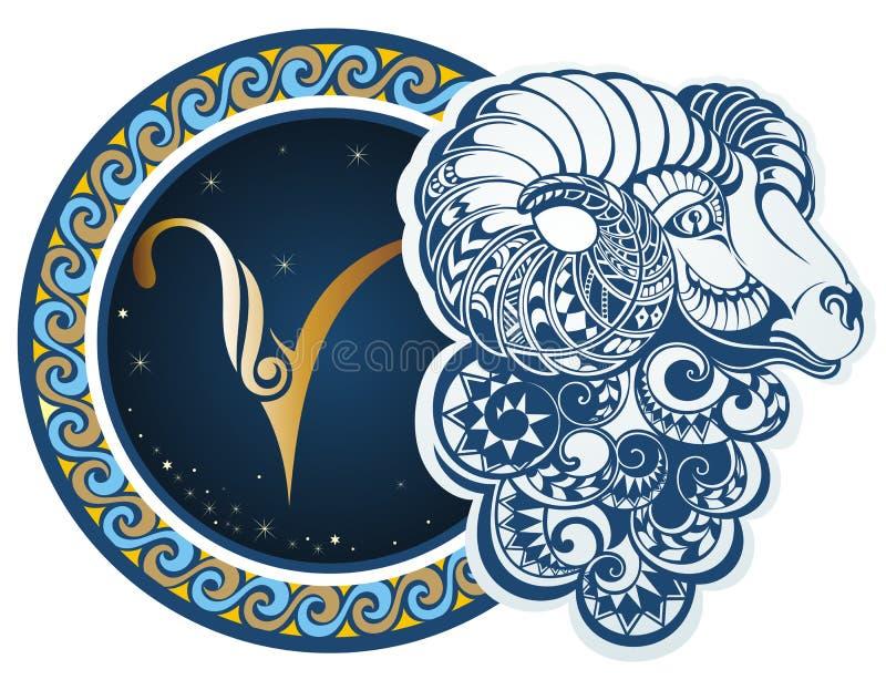 Sinais do zodíaco - Aries ilustração royalty free