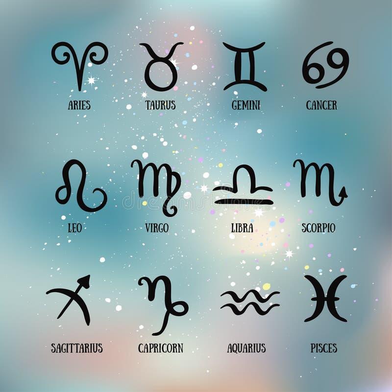 Sinais do zodíaco Grupo de zodíaco simples com subtítulos Símbolos do zodíaco ilustração stock